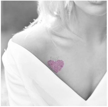 tatouage décalcomanie coeur rose