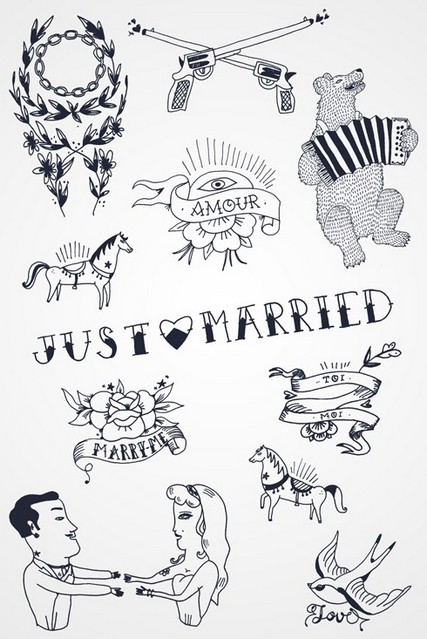 tatouages decalcomanie just married